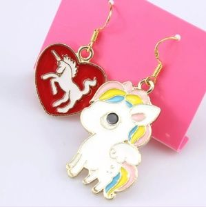 Brand New Enamel Heart and Unicorn Dangle Earrings